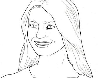 Custom Portrait - original line drawing on A4 paper