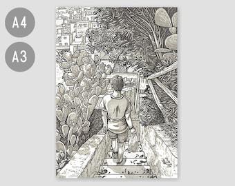 A4 / A3 Fine Art Print 'Walk in Procida' – contemporary artwork