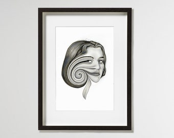 A4 / A3 Fine Art Print 'Cycle' – Limited Edition of 10 - contemporary surrealist portrait