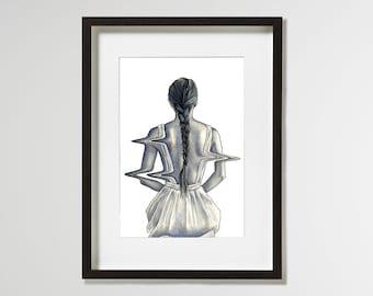 A4 Fine Art Print 'Pull' – Limited Edition of 10 - contemporary surrealist portrait
