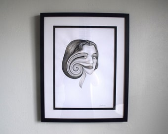 Original artwork 'Cycle' - ink painting - contemporary portrait
