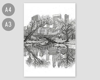 A4 / A3 Fine Art Print 'New York to Tokyo' – contemporary artwork