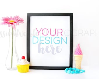 Download Free Black Frame + Sweets Styled Desktop, Styled Stock Photography, Styled Mockup, Product Background Photo, Art Print Backdrop, Cupcake, Flower PSD Template