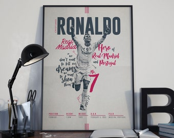Cristiano Ronaldo Football Poster CR7 Real Madrid Typography Print