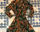 Vintage 70s XL XXL Kaftan Dress Long Sleeve Scandinavian Marimekko Print Style Inspired Emerald Green Jewel Tone Elegant Hippie Beautiful