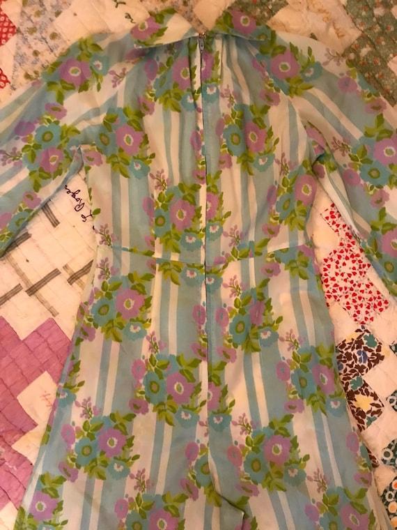 Vintage 70s Handmade Palazzo Pant Jumpsuit Floral… - image 9