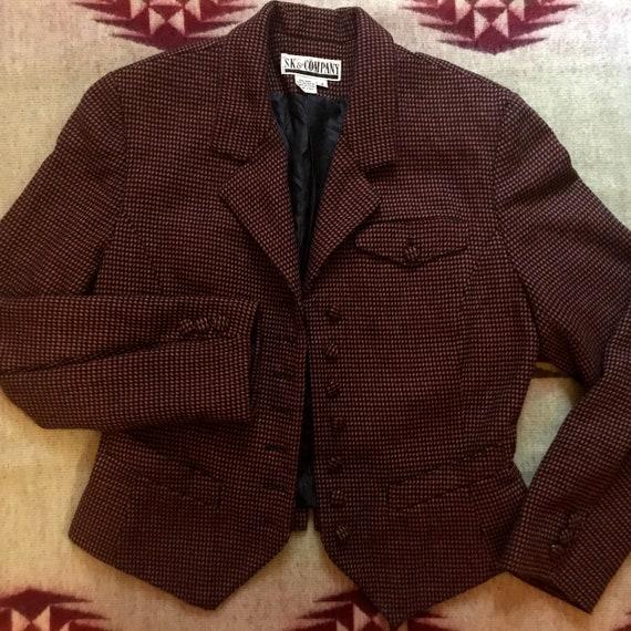 Vintage 90s does 40s Wool Houndstooth Blazer Cropp