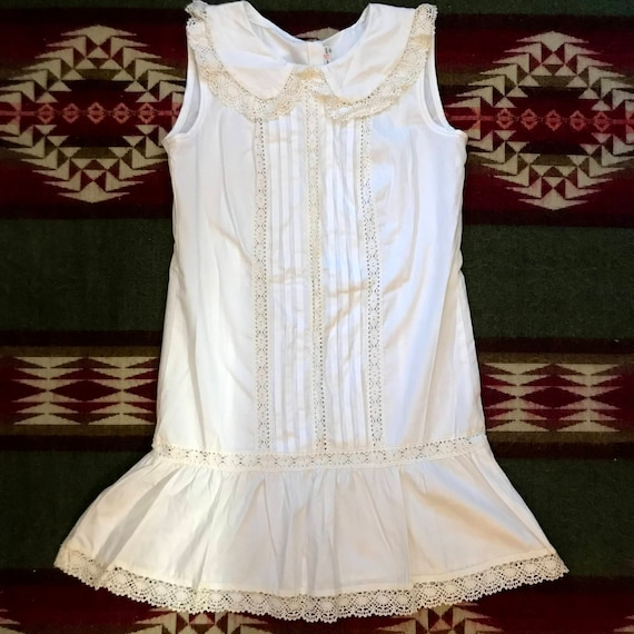 Vintage 80s Does Edwardian Lace Dress Nightgown Wh