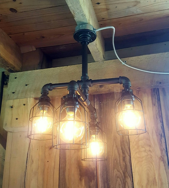 Vintage Industrial Cross Bath Light: Industrial Lighting Rustic Chandelier UL LISTED Iron Pipe