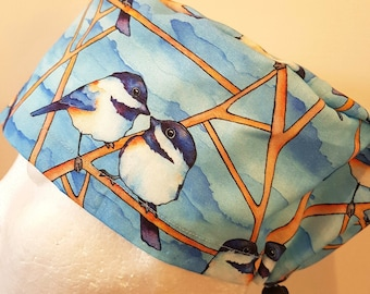 scrub hat surgical scrub cap/Two birds on a branch on blue /elastic toggle back/ for theatre nurses doctors dentists vets & more