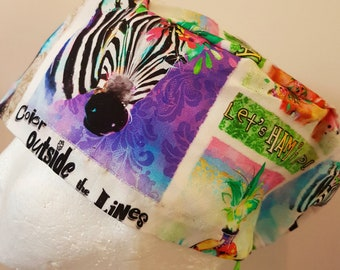 scrub hat surgical scrub cap/Party animals on white /elastic toggle back/ for theatre nurses doctors dentists vets & more