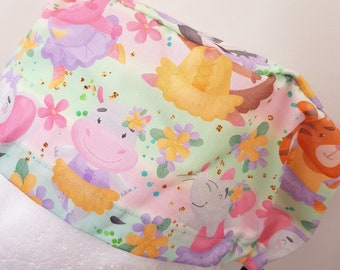 scrub hat surgical scrub cap/Animals dancing on pale teal /elastic toggle back/ for theatre nurses doctors dentists vets & more