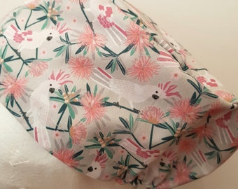 scrub hat surgical scrub cap/Aussie bird cockatoo pink /elastic toggle back/ for theatre nurses doctors dentists vets & more