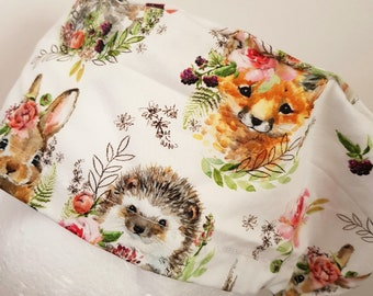 scrub hat surgical scrub cap/Woodland animals with flowers /elastic toggle back/ for theatre nurses doctors dentists vets & more