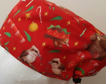 scrub hat surgical scrub cap/Aussie bush Xmas animals on red /elastic toggle back/ for theatre nurses doctors dentists vets & more