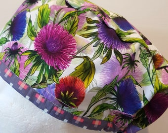 scrub hat surgical scrub cap/Thistle flowers on cream CONTRAST EDGE /elastic toggle back/ for theatre nurses doctors dentists vets & more