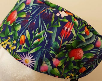 scrub hat surgical scrub cap/Aussie native flower garden on navy blue /elastic toggle back/ for theatre nurses doctors dentists vets & more