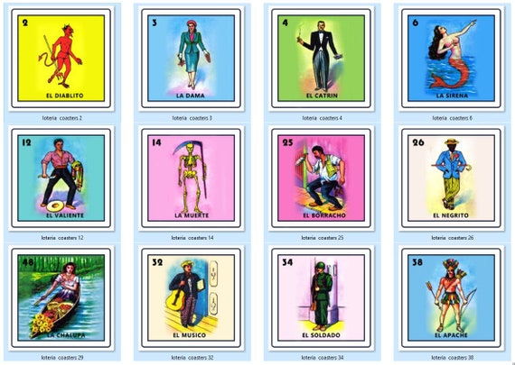 picture relating to Loteria Game Printable named Mexican Loteria Printable Coaster Shots (12 Seprate Data files) - Reg. 14.99 Upon Sale Currently!
