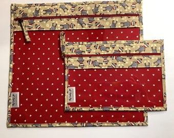 Ready to Ship Cardinals /& Ribbons Cross Stitch Needlework Vinyl Front Project Bag