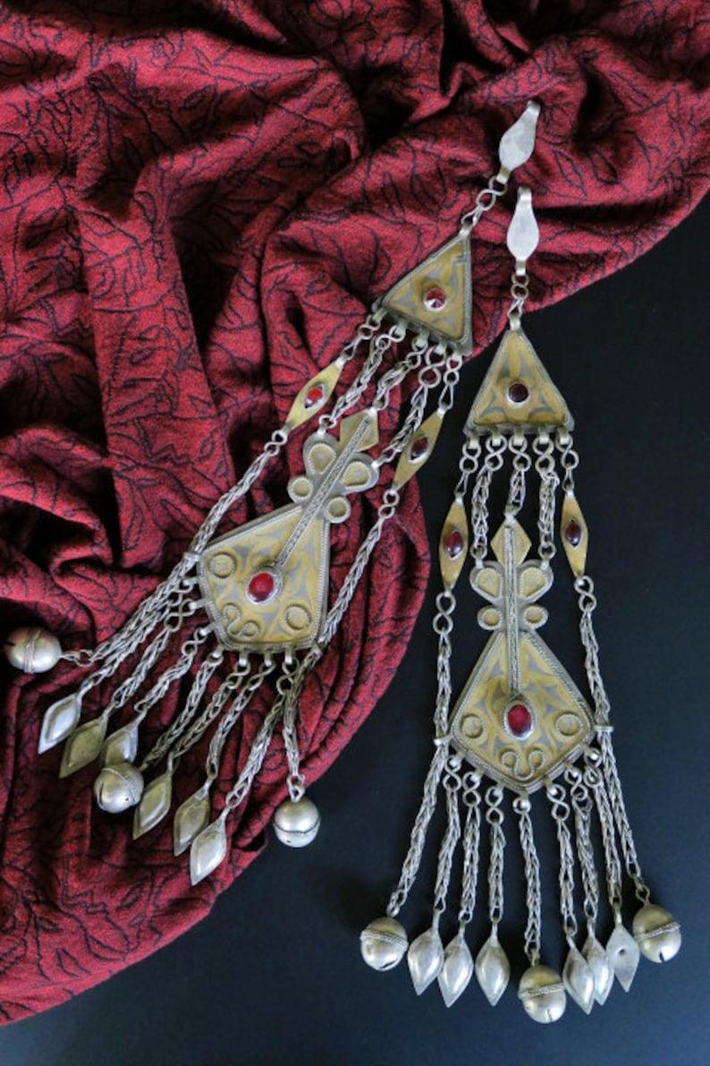 Old Tribal Jewelry PAIR TURKMEN PENDANTS Large Turkmen Pair of Tenechir Hair Jewelry