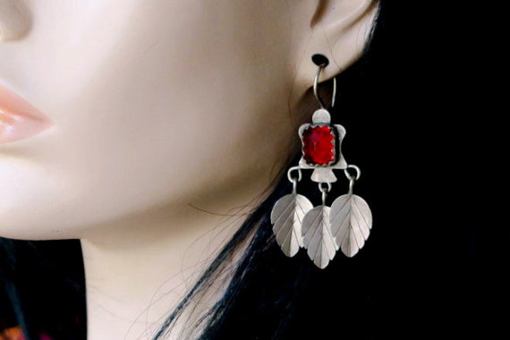 Vintage Silver Dangle Earrings with Starbursts 18 Gauge Earwires OLD AFGHAN EARRINGS Tribal Jewelry from Central Asia
