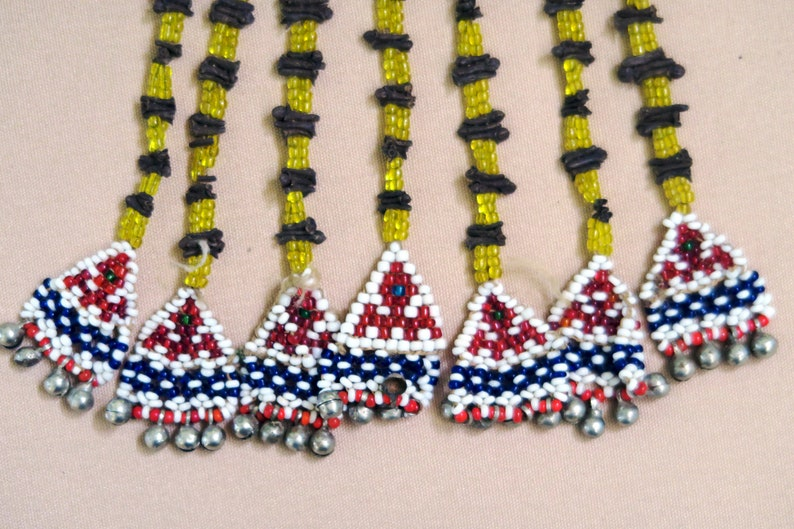 Large Old Afghan Beaded Triangular Tassel-Panel with Clove LONG BEADED PANEL Handcrafted in Central Asia