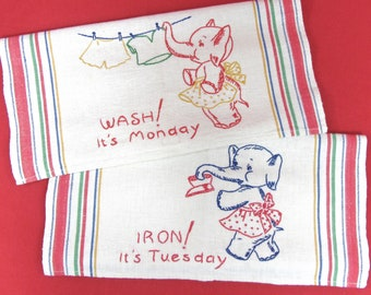 0c086a23c3cf13 Vintage Linen Towels with Embroidered Elephants / Kitchen Towels with  Bright Stripes and Embroidered Days of the Week /Monday/ Tuesday