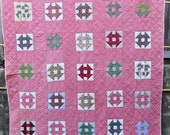 Monkey Wrench Antique Quilt with Assorted Pieced Blocks and Double Pink Sashing Shoo Fly Churn Dash Double Wrench