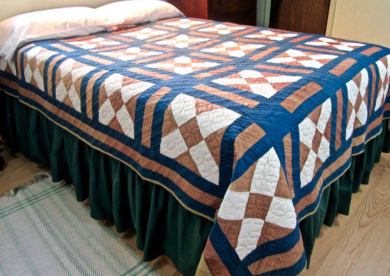 Bachelor/'s Puzzle Antique Quilt in Brown Blue,and White Dark Indigo Blue and White Solid Fabrics  Hand Quilted Vintage Quilt in Brown