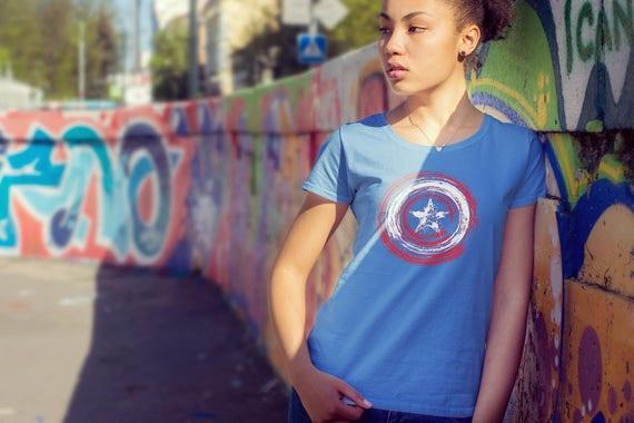 1c76b93c3 Shield Inspired Streak Remix Captain America Shield Marvel   Etsy