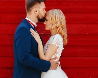 Short Sleeve Wedding Dress Guipere Lace Wedding Dress Wedding Dress with Sleeves Ballgown Wedding Dress