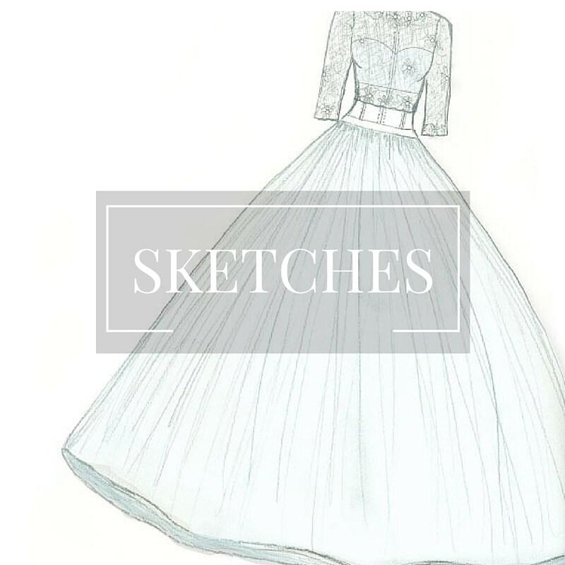 Wedding Dress Bridal Gown Sketch- Custom Bridal Gown Wedding Gown ...