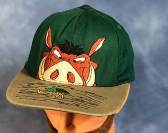 Vintage 90s Lion King Baseball Cap    Pumbaa and Beetle    Goofy s Hat Co.     Disney 8694b31f803e