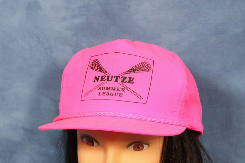 1b89d7e0c5d332 Vintage 80s 90s Hot Pink Nylon Hat // Neon Pink Baseball Cap   Etsy