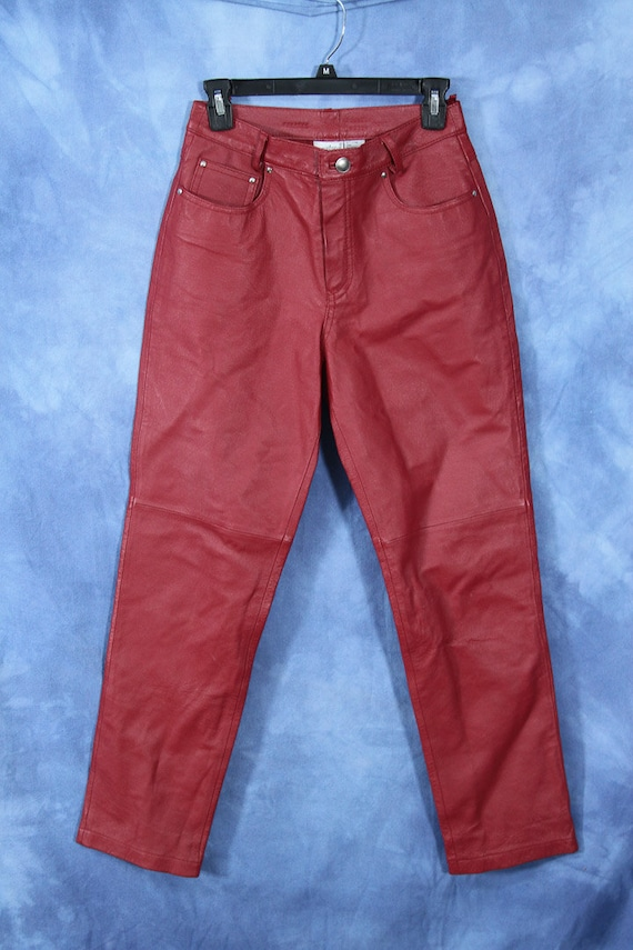 Vintage Red Leather Pants Newport News Easy Style Biker Etsy