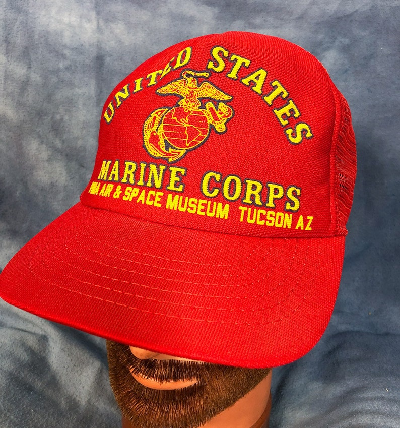 cedea6b87e1 Vintage United States Marine Corps Trucker Hat    Red Baseball Cap ...
