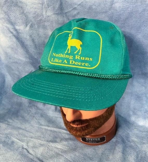 Vintage John Deere Nothing Runs Like A Deere Green Mesh Trucker Snapback Hat
