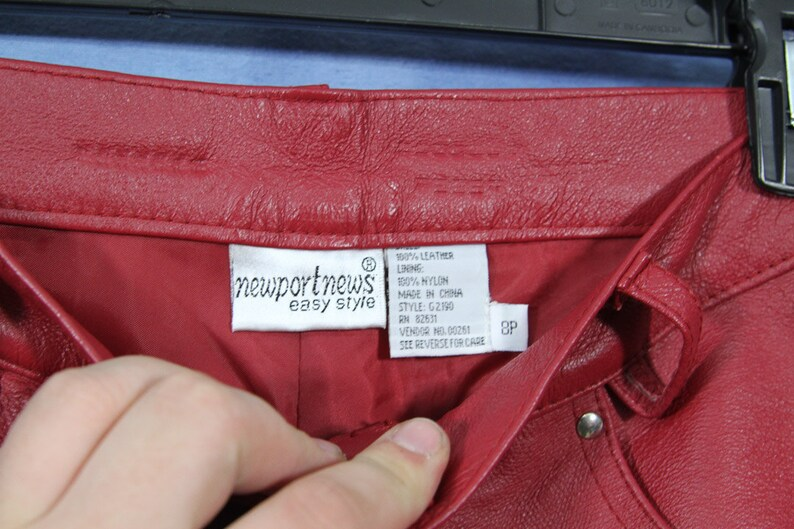 Vintage Red Leather Pants  Newport News Easy Style  Biker Pants  100/% Leather with nylon lining  size 8p
