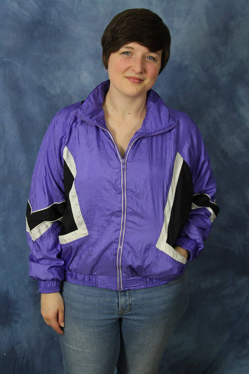 Vintage 90s Milano Sport Windbreaker Jacket  Purple Black Color Block  Active Athletic Workout Sport