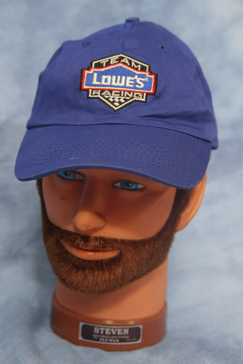 3a9a72c6d Vintage 90s Nascar Lowes Racing Team Hat // Blue Baseball Cap // Auto Car  Track Hardware