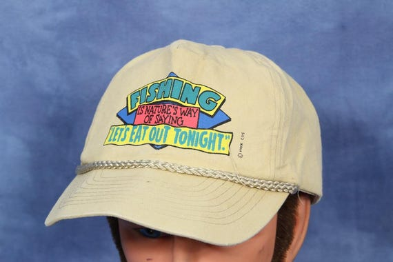 Vintage 80s 90s Fishing Hat    Funny Novelty Goofy Silly     2f9933ac0ad