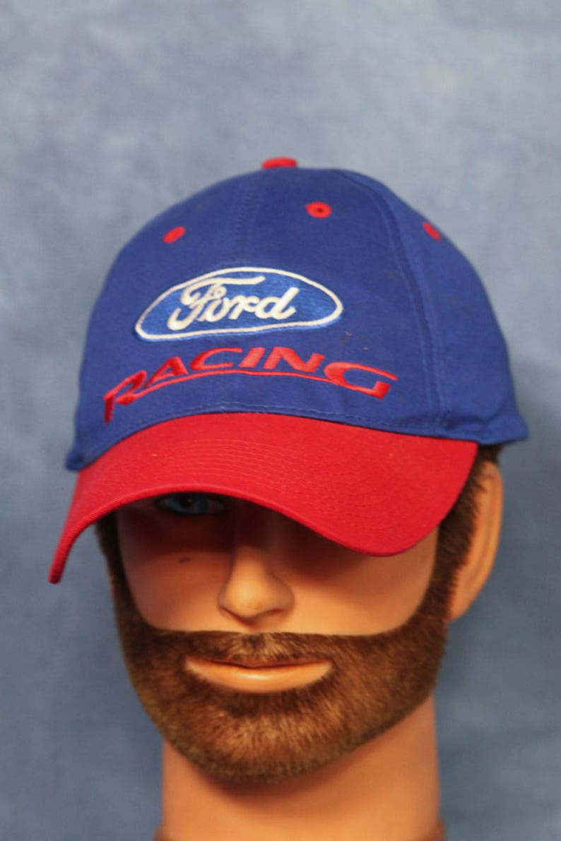 6f6caac07e8b3 Vintage 90s Ford Racing Baseball Cap    Blue and Red Snapback