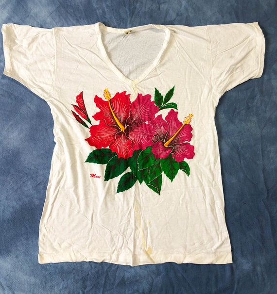 Maui Vintage T-Shirt Surf Hibiscus Flower Tee