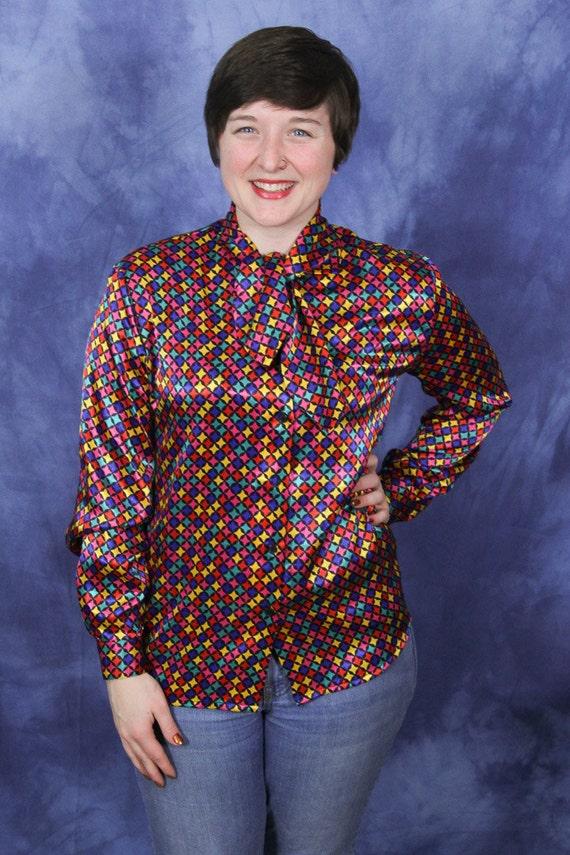 Vtg 80/'s DOLLY RETRO red white polka dot Boxy shirt blouse top SM