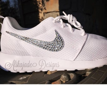 Swarovski Women s NIKE ROSHE ONE or Two with Clear Crystals- Custom Hand  Jeweled- Wedding Shoe- Gift for Her cc42c91d9