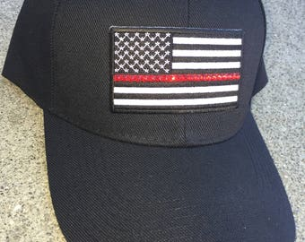 2c0b63337cfd Thin Red Line Flag Bling Baseball Cap - Thin Red Line Womens Baseball Cap -  Firefighter Wife Gift - Firefighter Support - Red Line