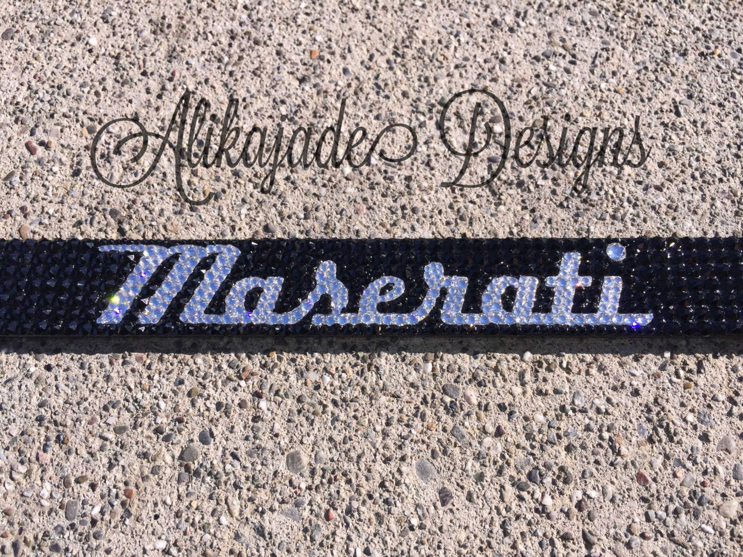 Black Maserati Swarovski Crystal Bling License Plate Frame - Custom ...