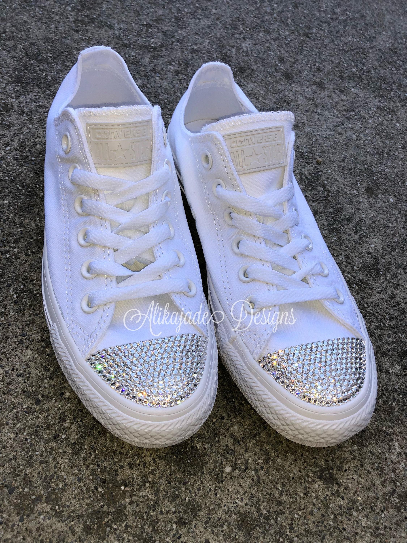 4a9ff5308be53 Swarovski Crystal White Converse - Wedding Converse- Crystal ...