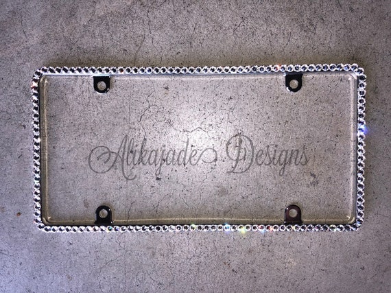 SWAROVSKI CRYSTAL license plate frame 6 rows Large Crystal On Chrome Frame