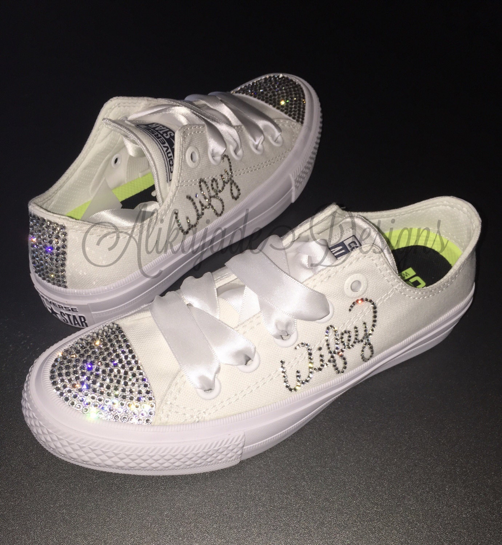 3eeacf397 Swarovski Crystal WIFEY Converse - Wedding Converse- Crystal ...